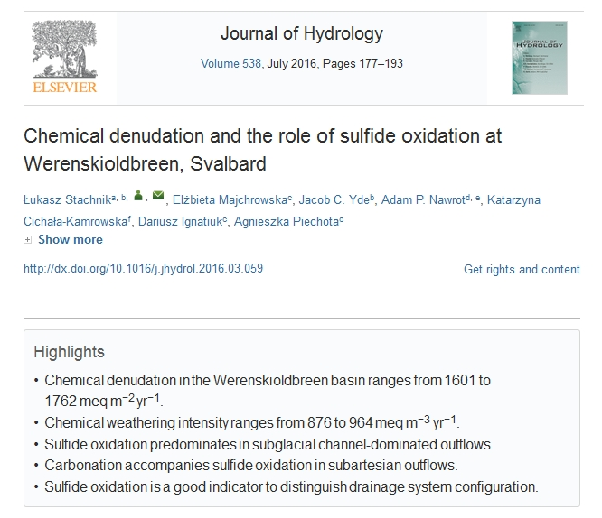 Chemical denudation and the role of sulfide oxidation at Werenskioldbreen, Svalbard