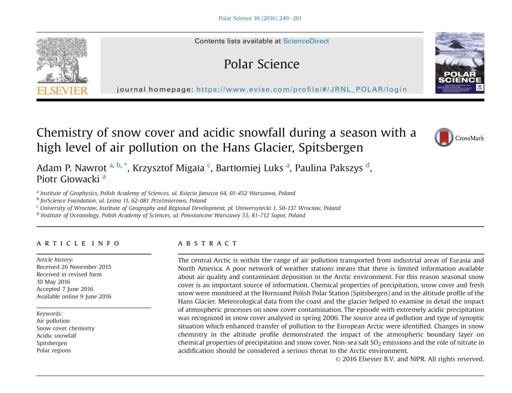Chemistry of snow cover and acidic snowfall during a season with a high level of air pollution on the Hans Glacier, Spitsbergen